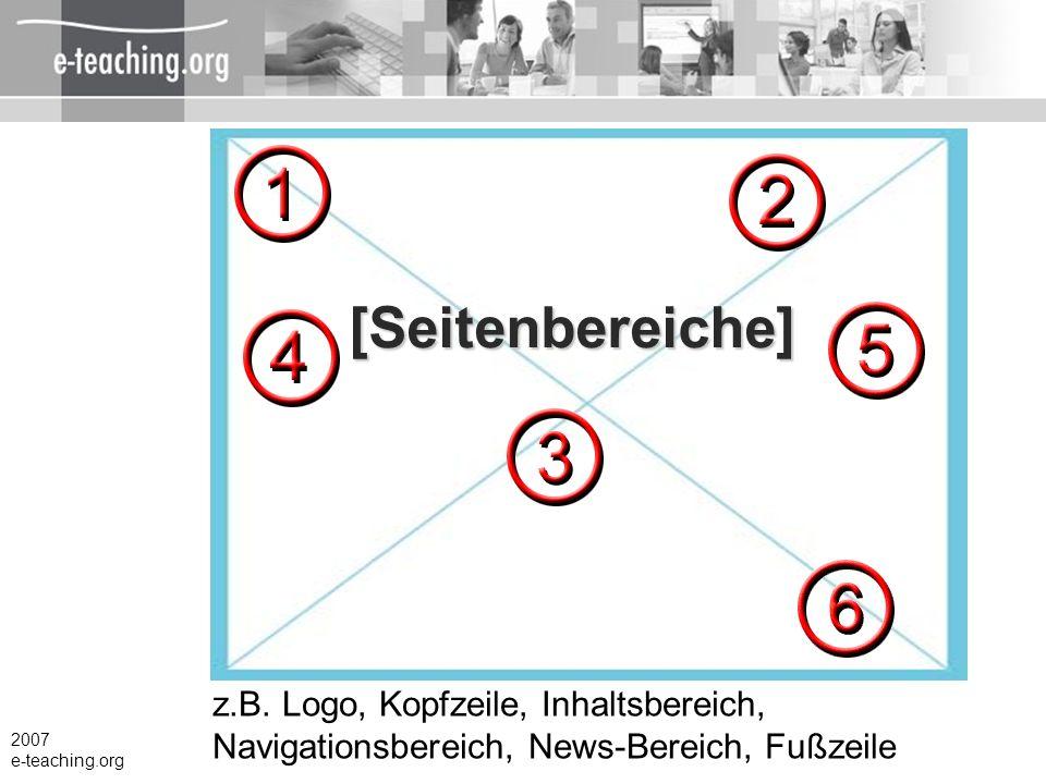 [Seitenbereiche] z.B. Logo, Kopfzeile, Inhaltsbereich, Navigationsbereich, News-Bereich, Fußzeile. 2007.